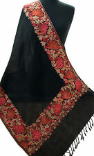 Black Shawl Crewel Embroidered With Red Pink Flowers Pashmina Kashmiri Ari Stole