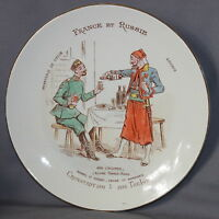 "BEAUTIFUL FRENCH POTTERY LUNEVILLE PLATE ""RUSSIAN & FRENCH"" ""FRANCE & RUSSIE"" B)"