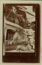 PHOTO ANCIENNE - VINTAGE SNAPSHOT - MILITAIRE SOLDAT SABRE CHIEN - SOLDIER DOG
