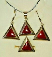 Handmade Silver Jewelry Set with Natural Ruby Gemstone