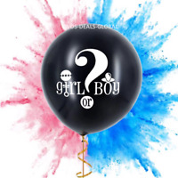 """Large 36"""" Black Gender Reveal Balloon Giant Confetti Baby Shower Decorations UK"""
