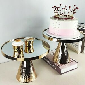 Mirror Cake Stand Tray Wedding Party Plate Silver Gold 10inch