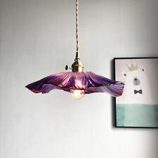 Moderm Brass Purple Glass Pendant Ceiling Light Living Room Kitchen Hanging Lamp