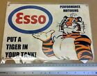 ESSO OIL TIGER VINTAGE GARAGE ADVERTISING RETRO METAL SIGN WALL PLAQUE A4
