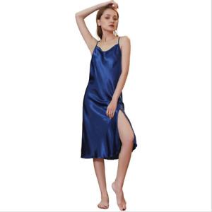 Women's Faux Silk Satin Split Dress Midi V-Neck Strap Sleepwear Nightdress Hot