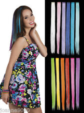 Ladies Clip In Synthetic Hair Extensions Neon Bright Colour Flash Eurovision