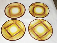 "4 Vernonware Organdie Salad Plates 7 3/8"" Vernon Kilns Plaid Yellow Brown Retro"