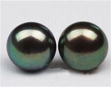 Natural AAA+ 10-11mm Black Tahitian Pearl Earring 14K