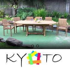 KYOTO PREMIUM TEAK WOOD OUTDOOR GARDEN / INDOOR DINING TABLE & 6 STACKING CHAIRS