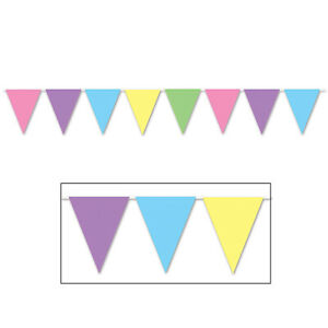 The Beistle Company-Pastel Pennant Banner (Pack of 12)
