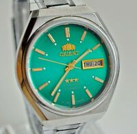 RARE VINTAGE ORIENT CRYSTAL AAA AUTOMATIC 3 STAR DAY & DATE MEN'S WRIST WATCH