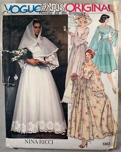 Vintage Vogue Nina Ricci Bridal Bridesmaid Gown Dress 1363 size 6