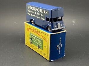 MATCHBOX LESNEY 46b PICKFORDS VAN, BLUE, 3 LINE DECAL, GREY WHEELS, MINT BOXED