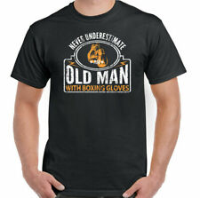 Boxing T-Shirt Boxer Never Underestimate an Old Man With Gloves Mens Funny Rocky