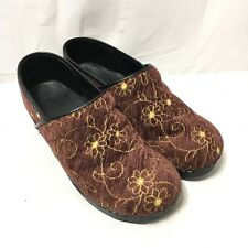Sanita Womens 40 US 9-9.5 Tapestry Brown Floral Occupational Comfort Clog Shoes