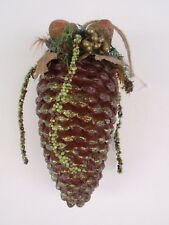 "Large Faux Pinecone Christmas Tree Ornament Glitter Berries Plastic 8"" Hang Xmas"