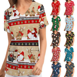 Women Christmas Floral Print Uniform Scrub Pockets Tops Work V Neck Wear Shirt