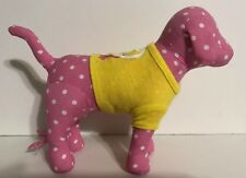 Dog Plush Pink White Polka Dots Victorias Secret Pink Peace Love Yellow Shirt