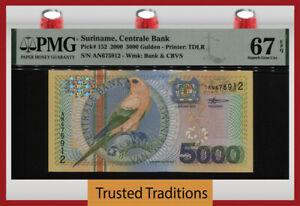 TT PK 152 2000 SURINAME CENTRALE BANK 5000 GULDEN BIRD PMG 67 EPQ SUPERB GEM UNC