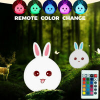Remote Color Change Rabbit Smile Face Night Light Bedroom Decor Bunny LED Lamp