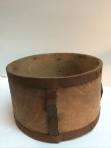 Small Antique Wood & Iron Bentwood Grain Measure