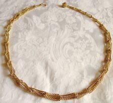 Vtg Interlocking Chain Link Ball Hook Belt Necklace Adjustable S M L Gold Tone