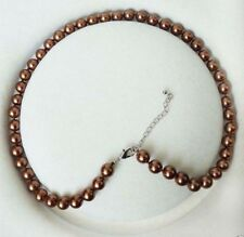 """Fashion 8mm Coffee South Sea Shell Pearl Round Gemstone Necklace 18"""""""