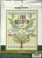 Live Simply Love Fully Laugh Often Design Works Counted Cross Stitch Kit NIP