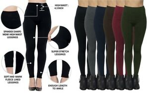 6 Women's Fleece Lined Leggings High Waist 3in Band Slim Winter Warm PLus Size
