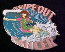 Breast Cancer Pin Awareness Pink Ribbon Wipe Out Surfer Wave Surfboard New
