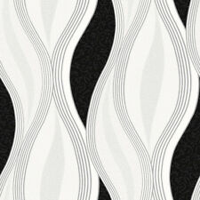 Black Glitter Waves Wallpaper Silver White Quality Textured Vinyl Feature Wall