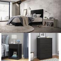 3 Piece Bedroom Set Furniture Queen Size Modern Bed Nightstands Black Dresser