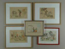 Märchen Szenen Rotkäppchen Hänsel Gretel 5 Aquarelle signiert Wiese - 1948