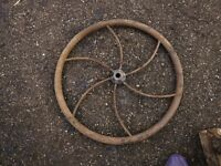 "Antique Curved Spoke FLYWHEEL 27""dia 7/8 shaft hole cast iron farm corn sheller"