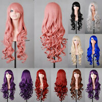 80cm Women Long Hair Full Wig Natural Curly Wavy Hair Wigs Costume Cosplay Party