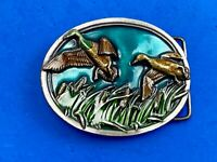 Vintage 1983 Bergamot Brass Works MALLARD DUCK Family belt buckle