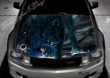 Angry Wolf Car Vinyl Graphics Car Bonnet Full Color Graphics Vinyl Sticker #325