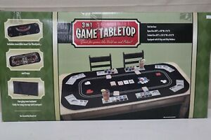 3-in-1 Game Tabletop for Poker, Blackjack, and Craps - Felt Surface - Brand New