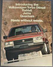 1983 Volkswagen Turbo Diesel Brochure Rabbit Jetta Quantum Excellent Original VW
