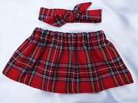 RED TARTAN ROYAL STEWART SKIRT & HEADWRAP HEADBAND BOW BABY TODDLER GIRLS NEW