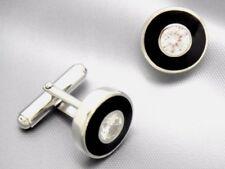 Manschettenknopf  Cz & Emaille  925 Sterling Silber