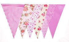 Pink Gingham Bunting 10m Floral Bridal Baby Shower Vintage Print Flag Decoration