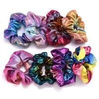 New Glitter Bronzing Rainbow Elastic Hair Bands Girls Hair Rope Scrunchie