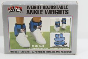 All Pro Adjustable Ankle Weights, 10-lb Pair up to 5-lbs Per Ankle Brand New