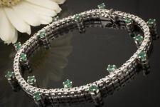 Schmuck Luxus Armband mit Brillanten und Smaragd versetzt in 750er Weißgold