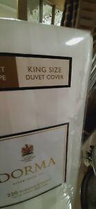 Dorma white satin stripe king size duvet set