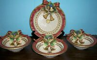 """3 & 1 FITZ AND FLOYD CLASSIC CHRISTMAS DEER SERVING BOWLS 8"""" & CANAPE PLATE 10"""""""