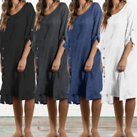 Summer Women Baggy Swing Long Shirt Dress Turn Up Sleeve Linen Club Beach Kaftan