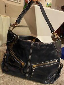 Dooney Bourke Navy Patent Leather Hobo handbag