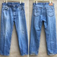 """Vintage Levi's 501 Jeans Button Fly Made In USA 36 30 Measure 33 1/2"""" X 30"""""""